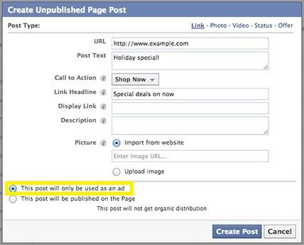"""שיווק בפייסבוק """"החשכת"""" פוסטים ב-Power Editor"""